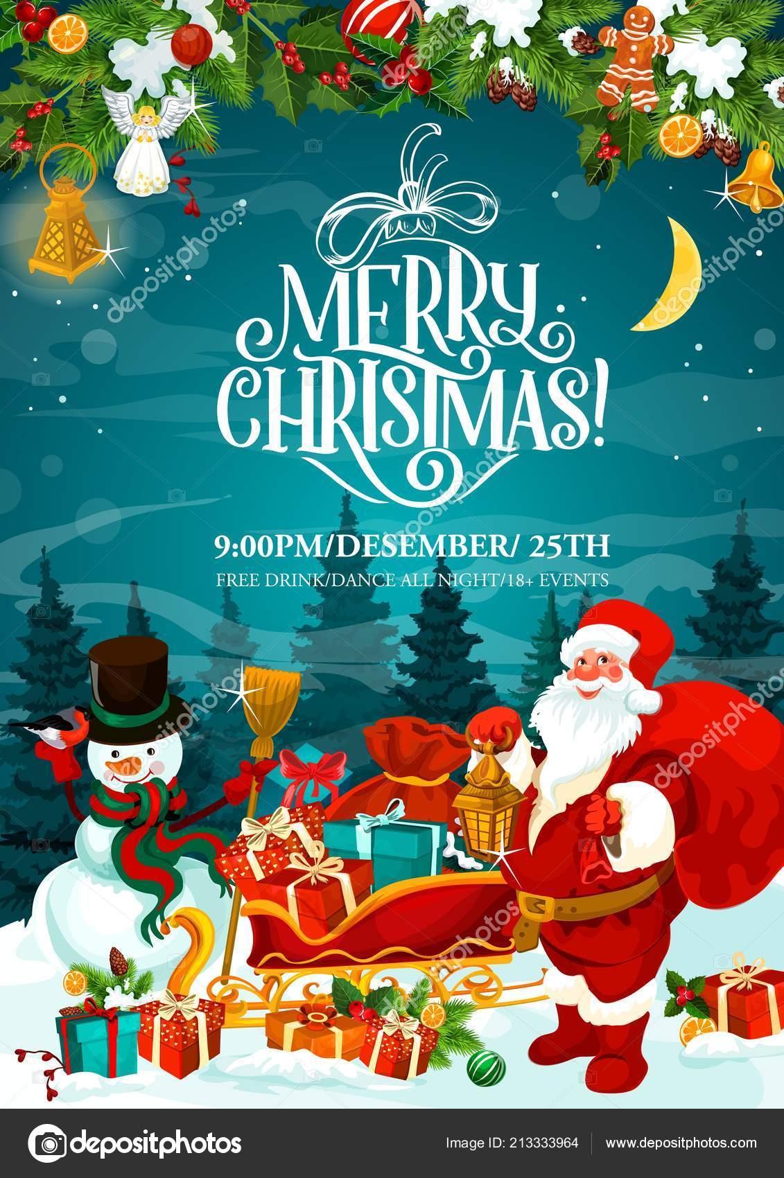 Merry Christmas Santa Party Invitation Card Stock Vector