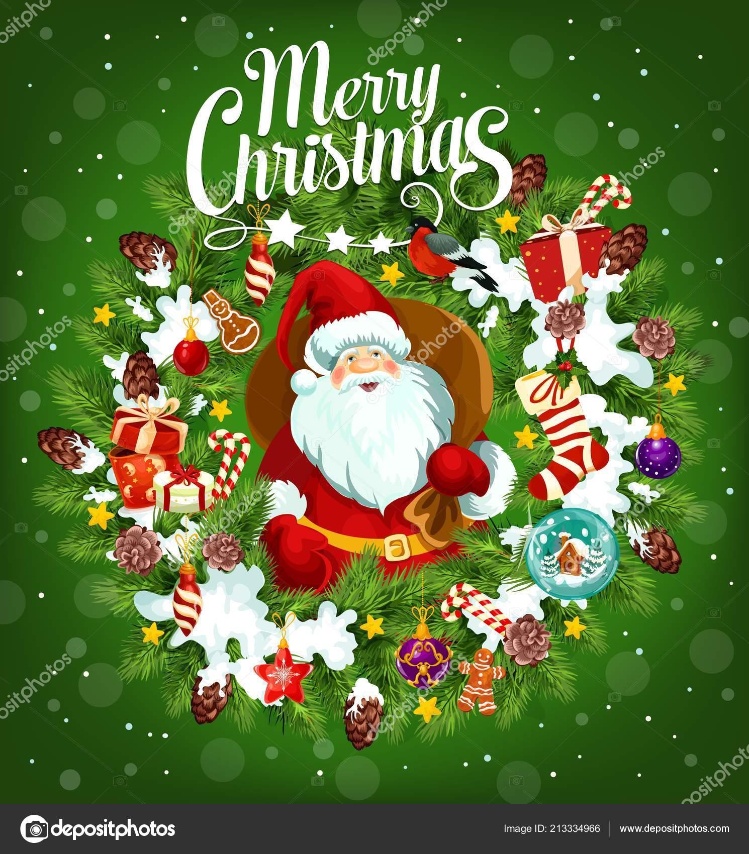 9b58f3d0cc45c Cartel de vacaciones de feliz Navidad con Santa Claus — Archivo ...