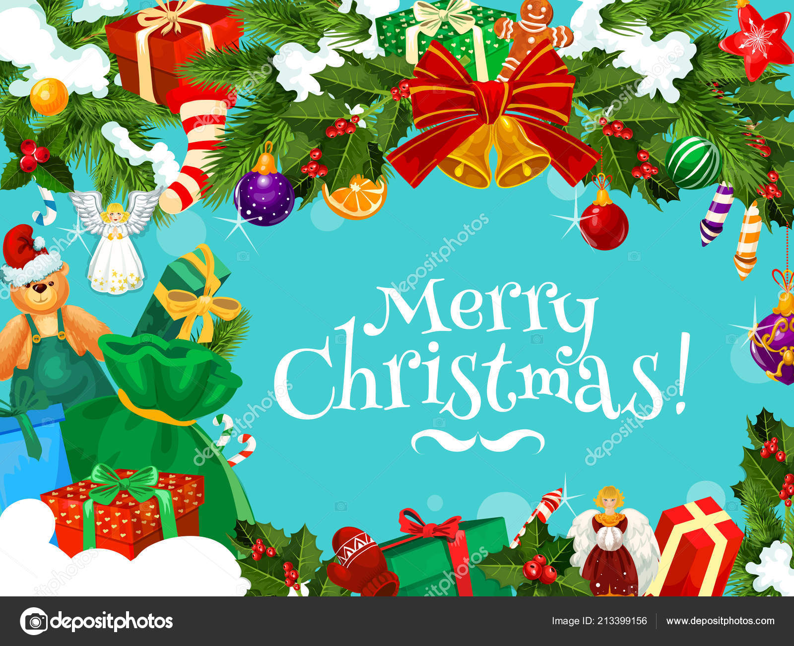 Christmas greetings with Xmas garland frame — Stock Vector ...
