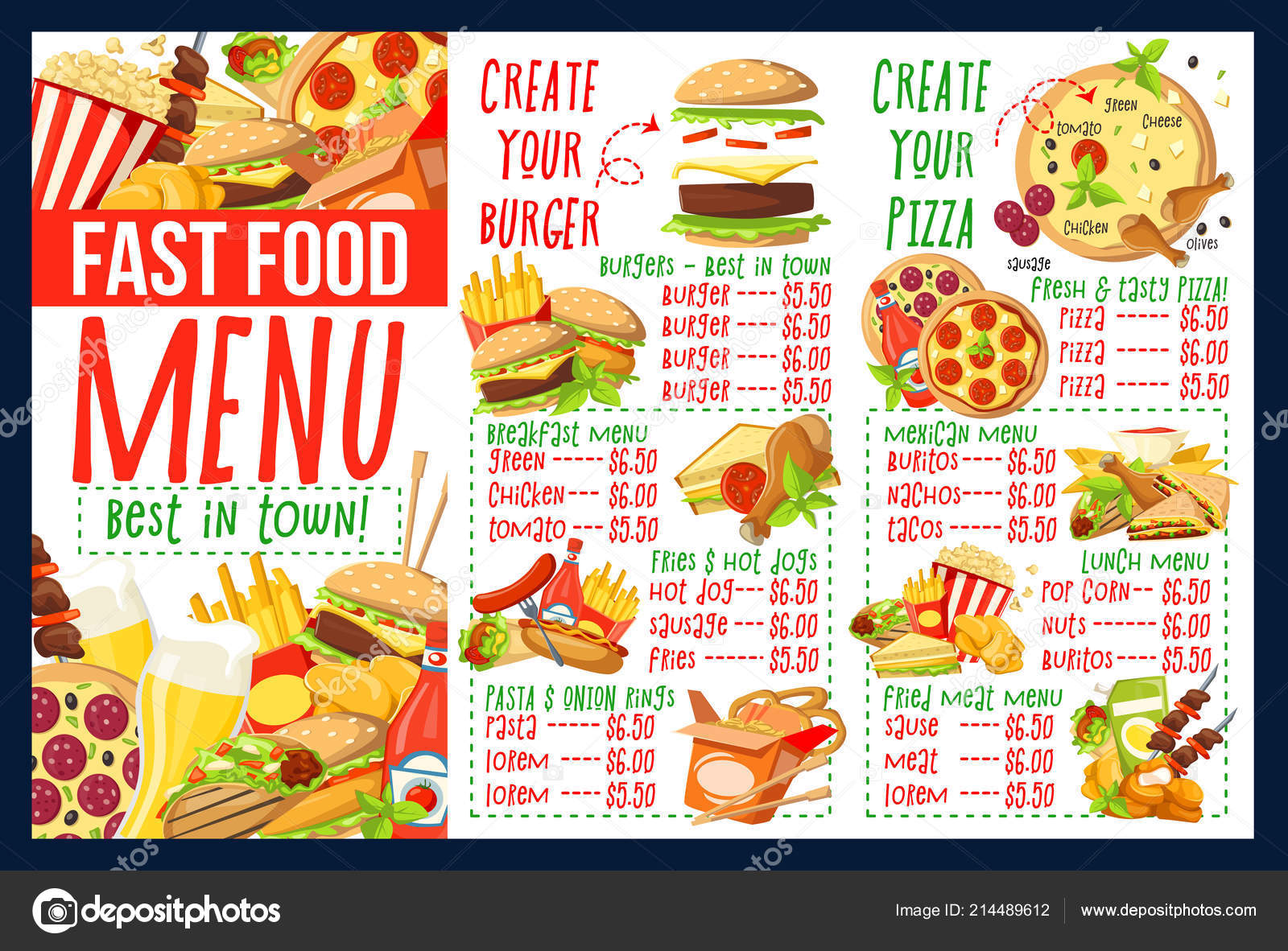 Fast Food Menu With Burger And Pizza Ingredients Stock Vector C Seamartini 214489612