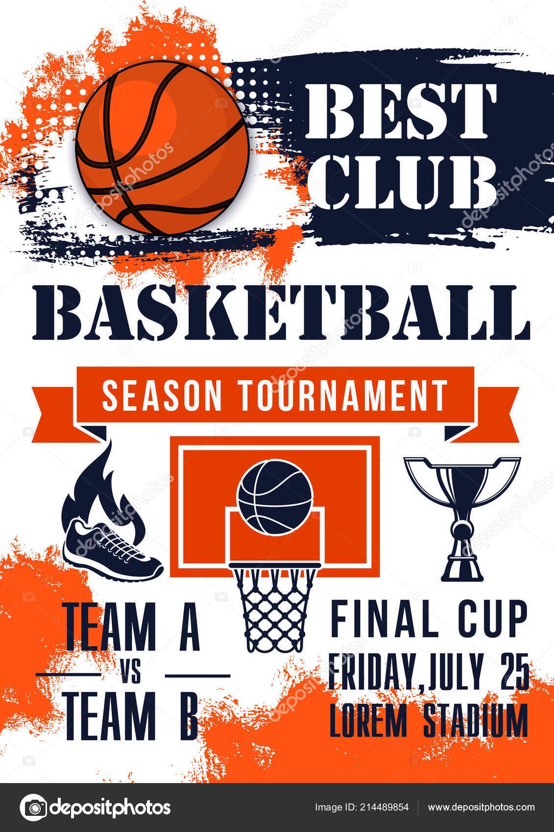 Bandeira de jogo de torneio jogo basquete — Vetores de Stock ... f4fb5f9155704