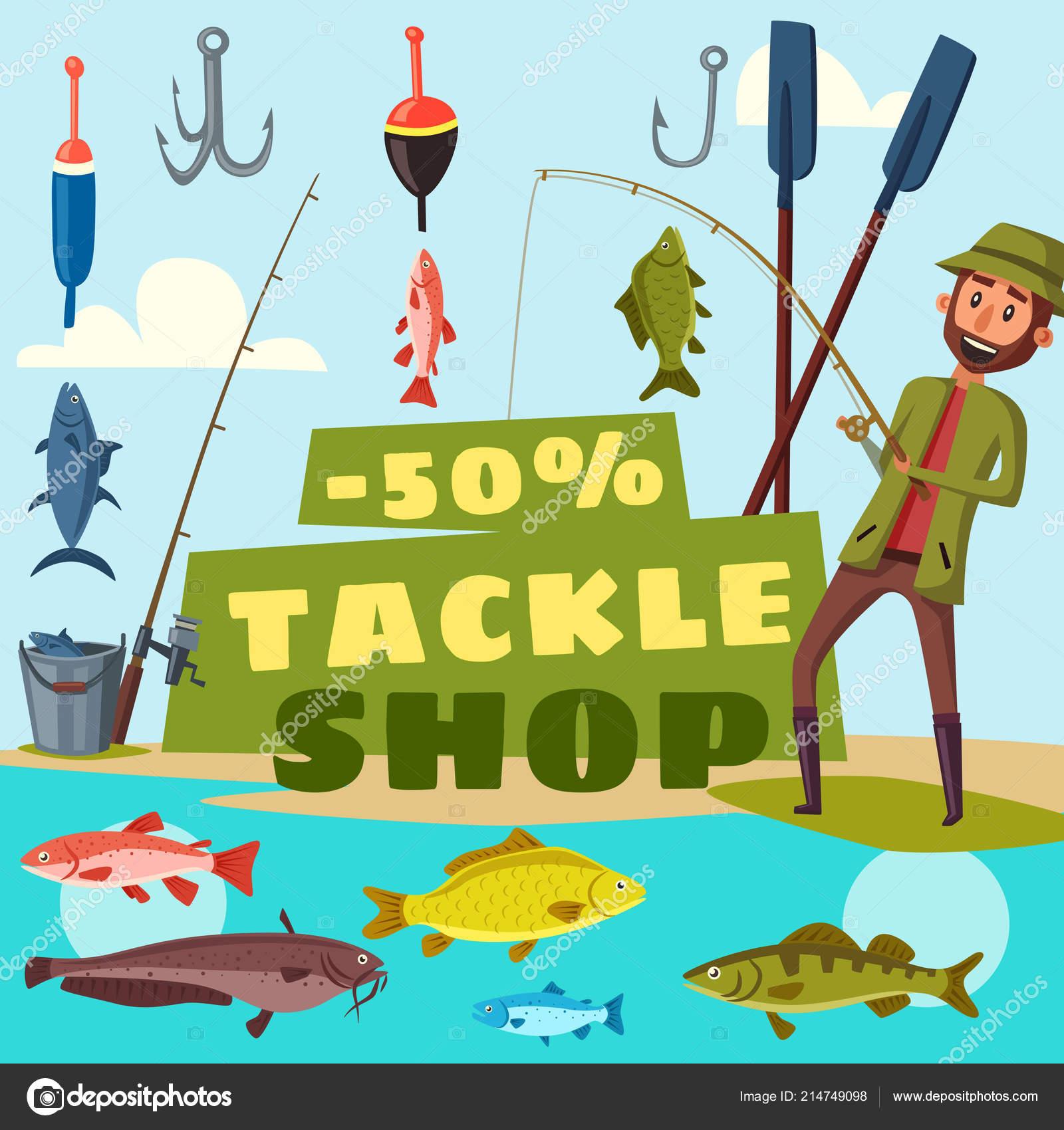 Rybarske Shop Atakovat Kreslene Vektorove Stock Vektor