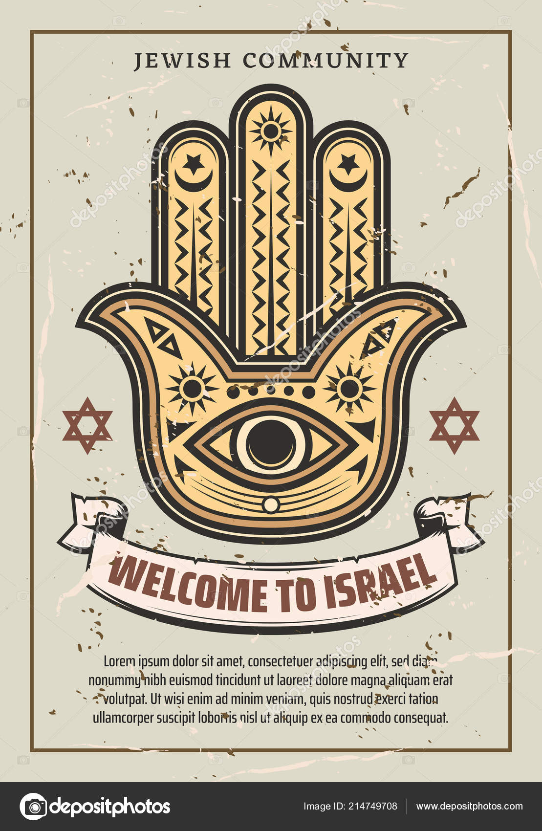 Welcome To Israel Hamsa Hand Amulet Vector Stock Vector