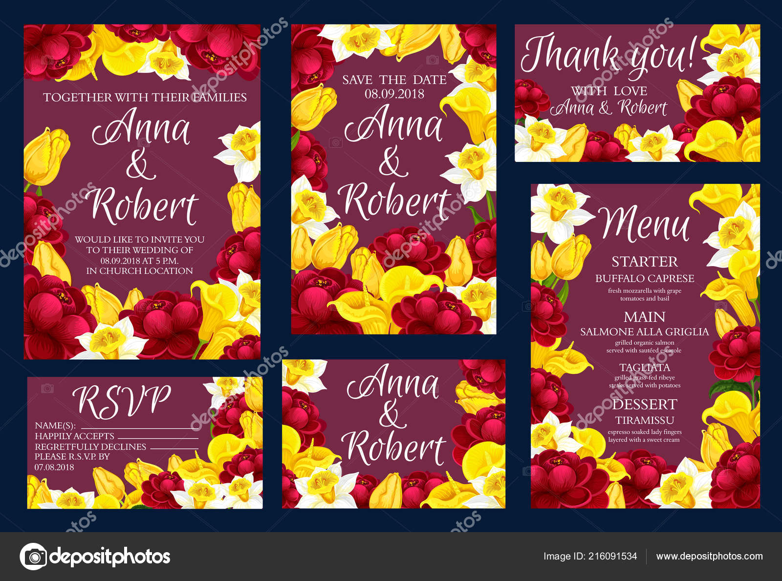 Wedding engagement invitation cards with flowers — Stock Vector ...