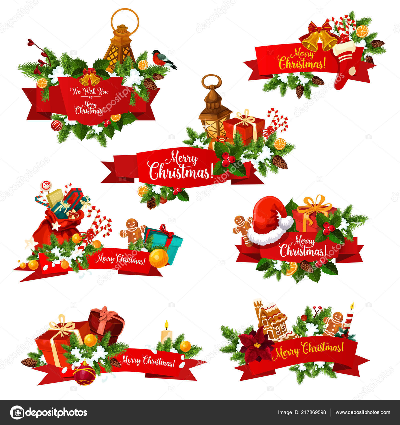 Immagini Vettoriali Natale.Desiderio Di Natale Saluto Nastri Vettoriale Icone
