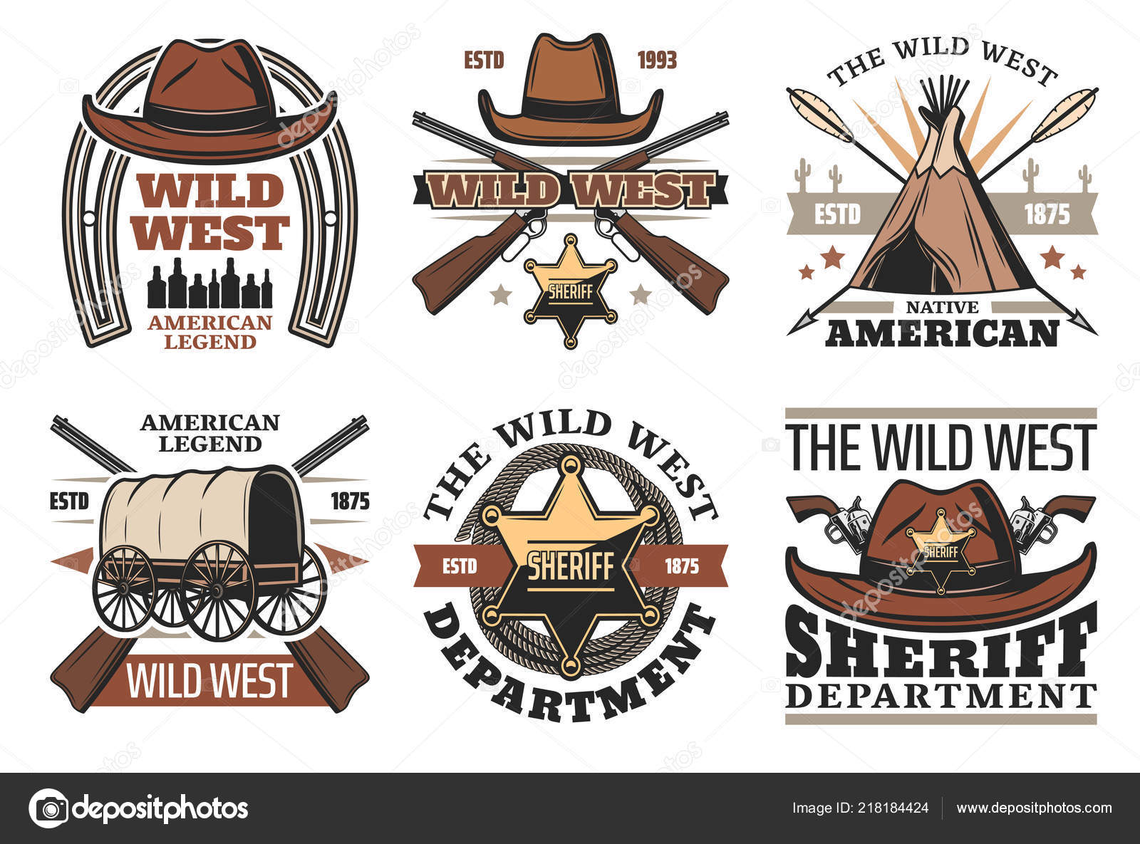 9c432ffb967 Wild West symbols with sheriff cowboy hat and guns — Stock Vector ...