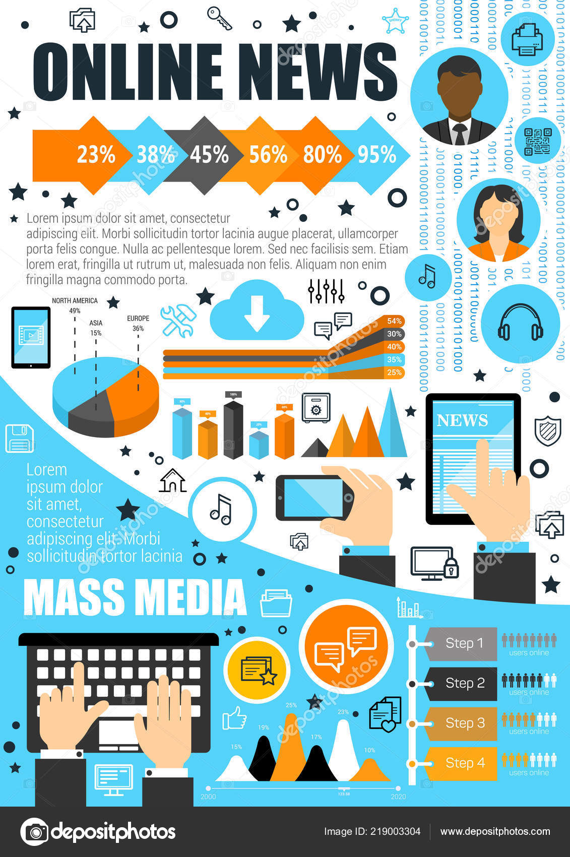 Online news and mass media vector infographics — Stock