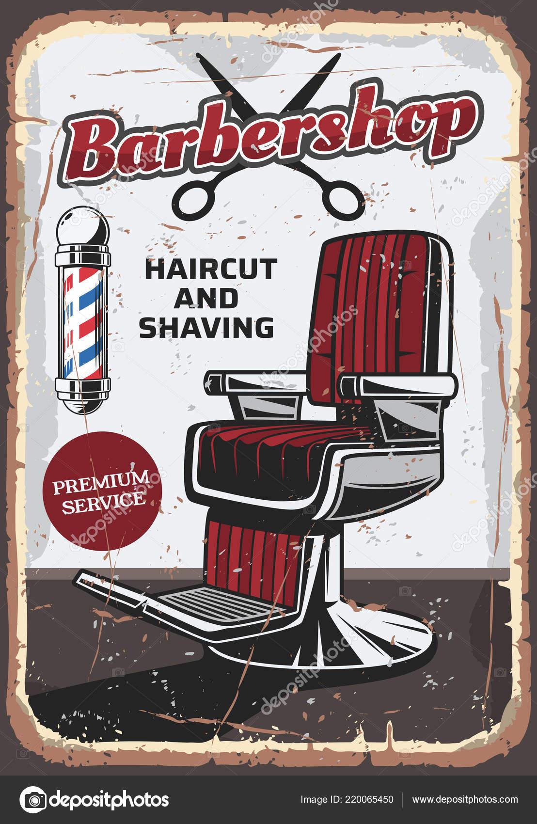 Barbershop Stuhl Und Scheren Retro Vektor Stockvektor