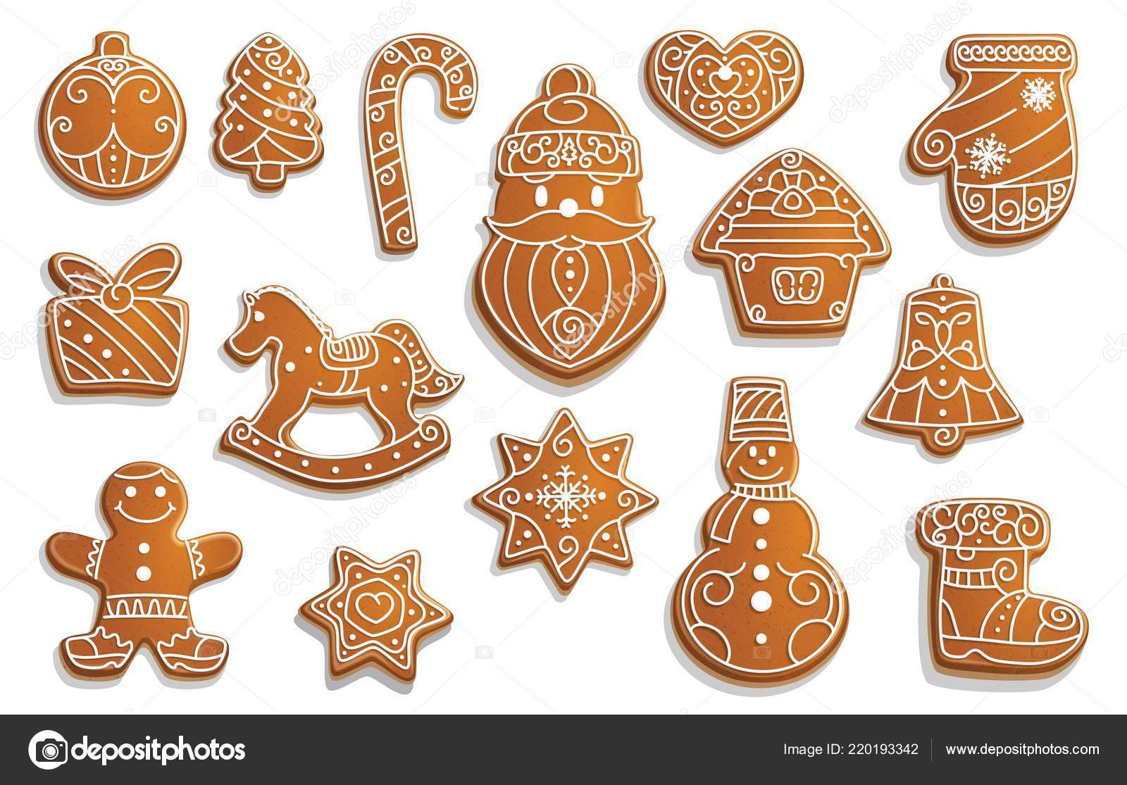 Gingerbread Cookies Christmas Holiday Food Stock Vector