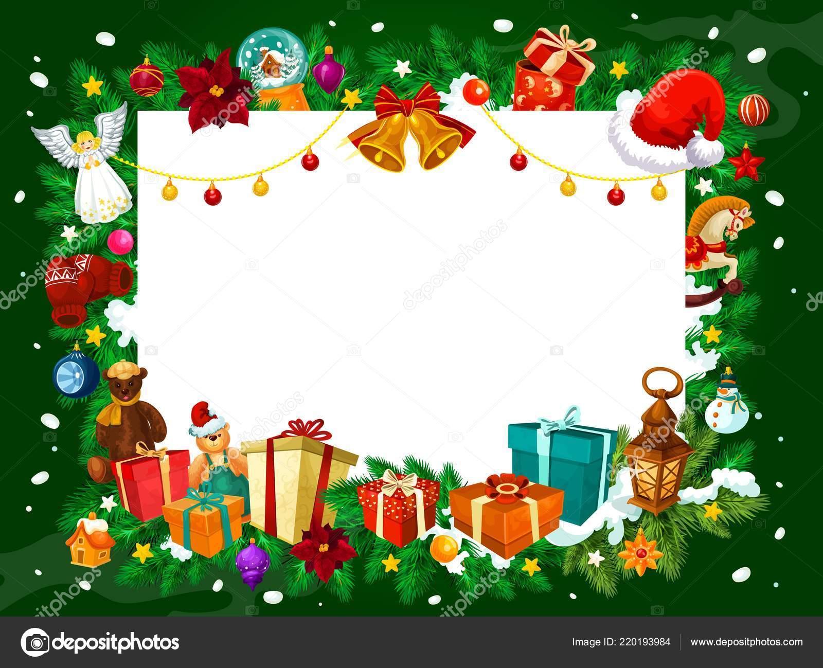 Marcos Para Fotos De Arbol De Navidad.Marco De Navidad De Regalos Y Adornos De Arbol Vector De