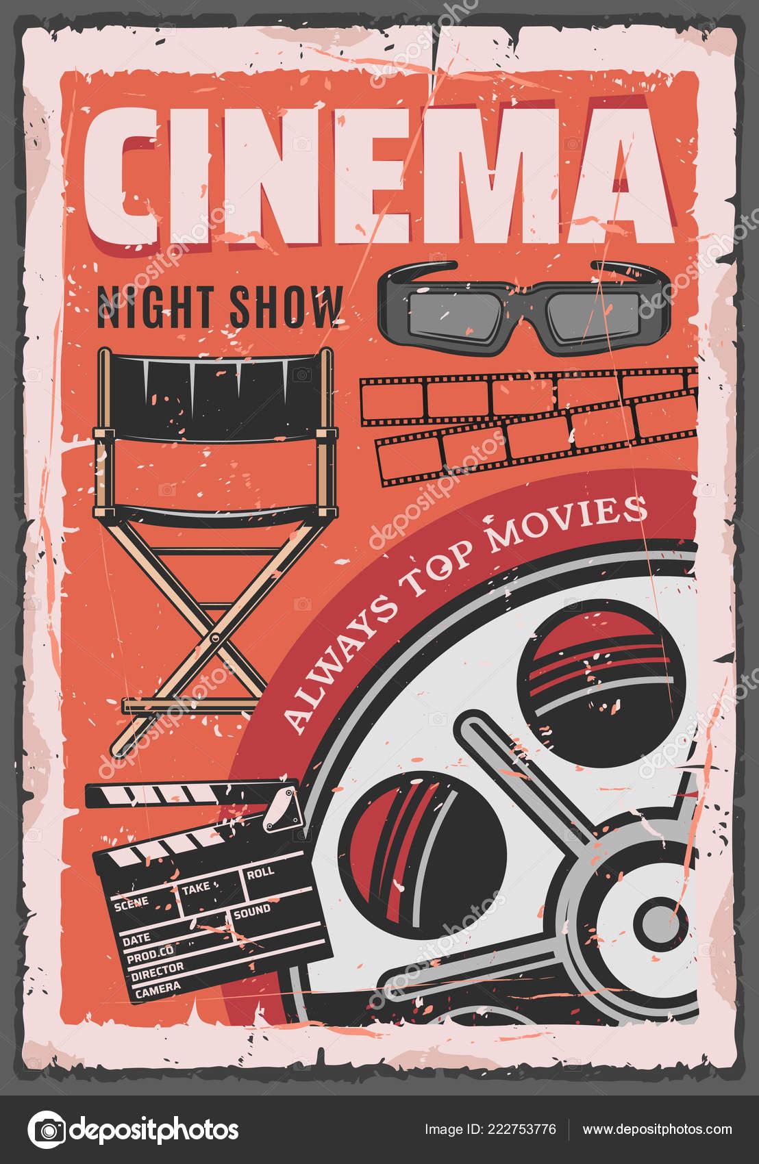 Cinema Night Movie Film Reel 3d Glasses Stock Vector