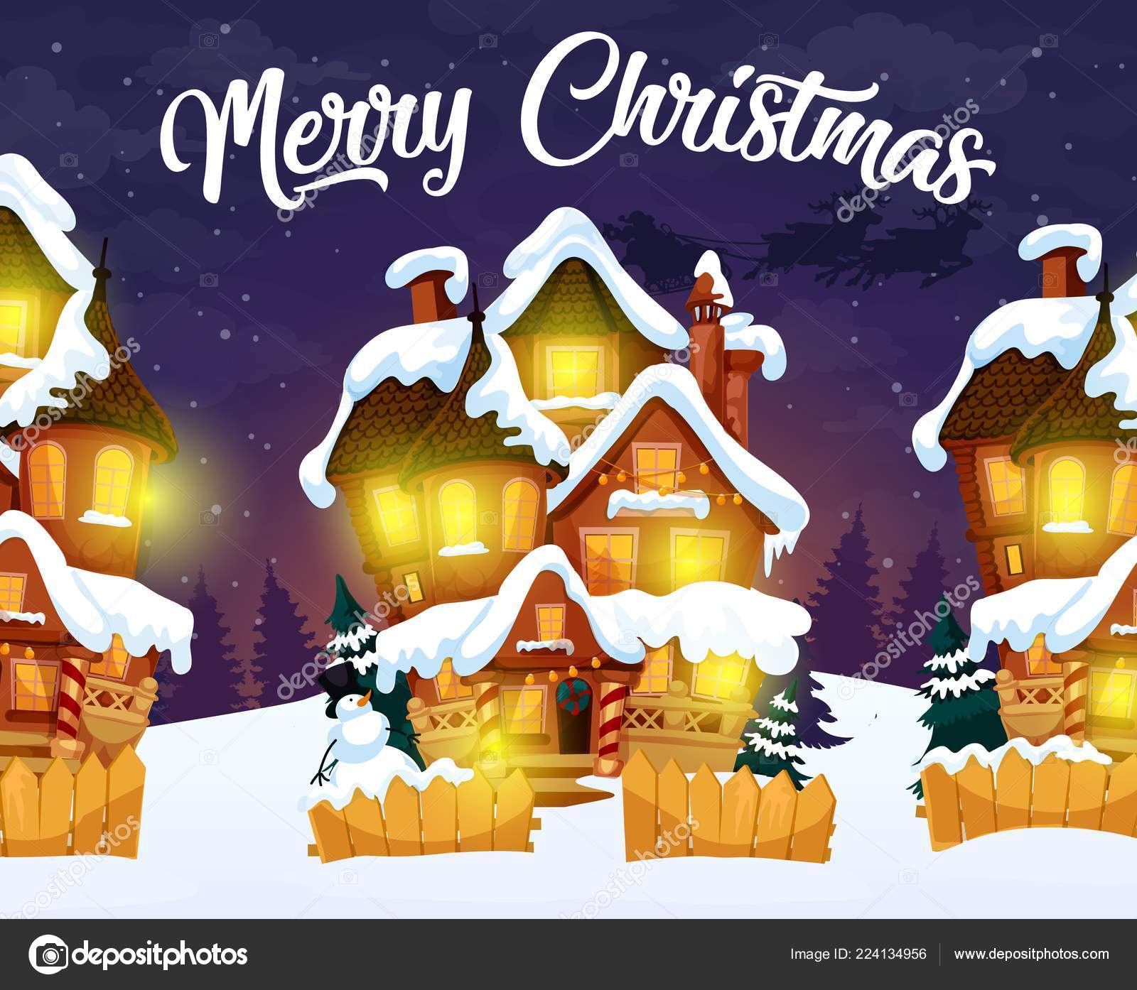 Merry Christmas greeting card with night village — Stock Vector ...