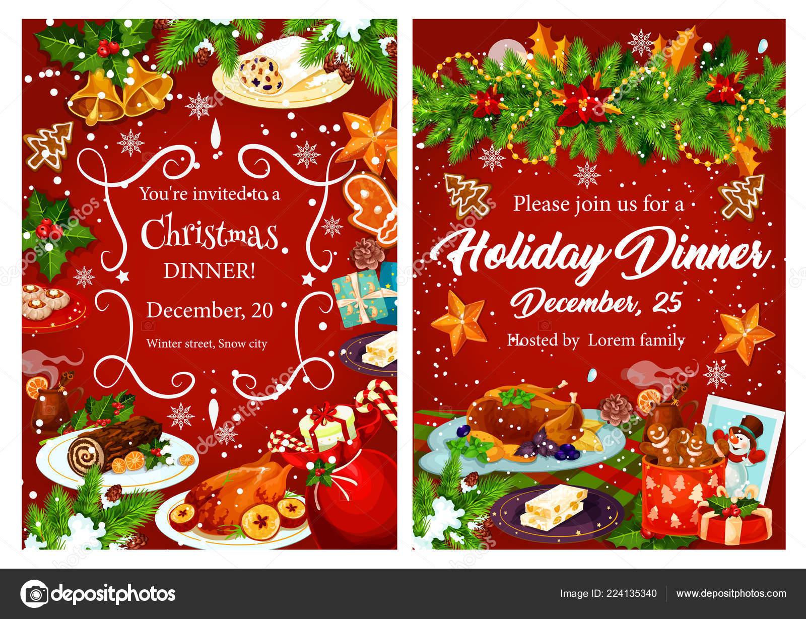 Tarjeta De Invitación De Cena Festiva De Navidad Vacaciones