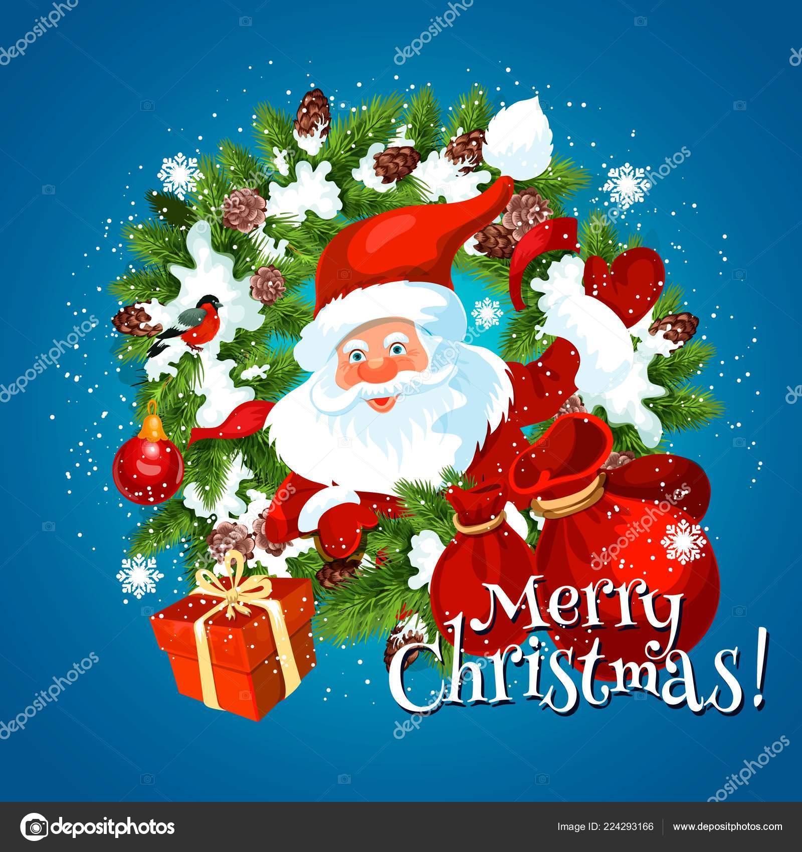 Immagini Di Natale Con Babbo Natale.Natale Auguri Di Natale Con Babbo Natale Vettoriali Stock