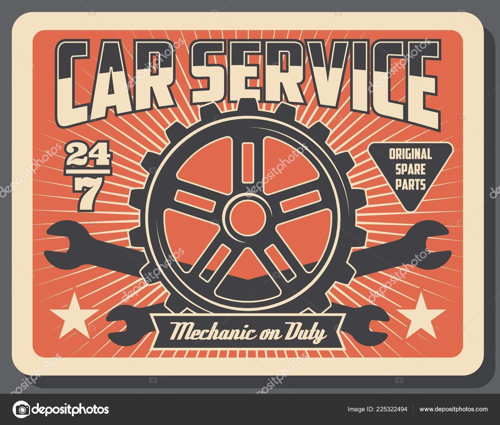 Car Auto Parts Mechanic Service Stock Vector C Seamartini 225322494