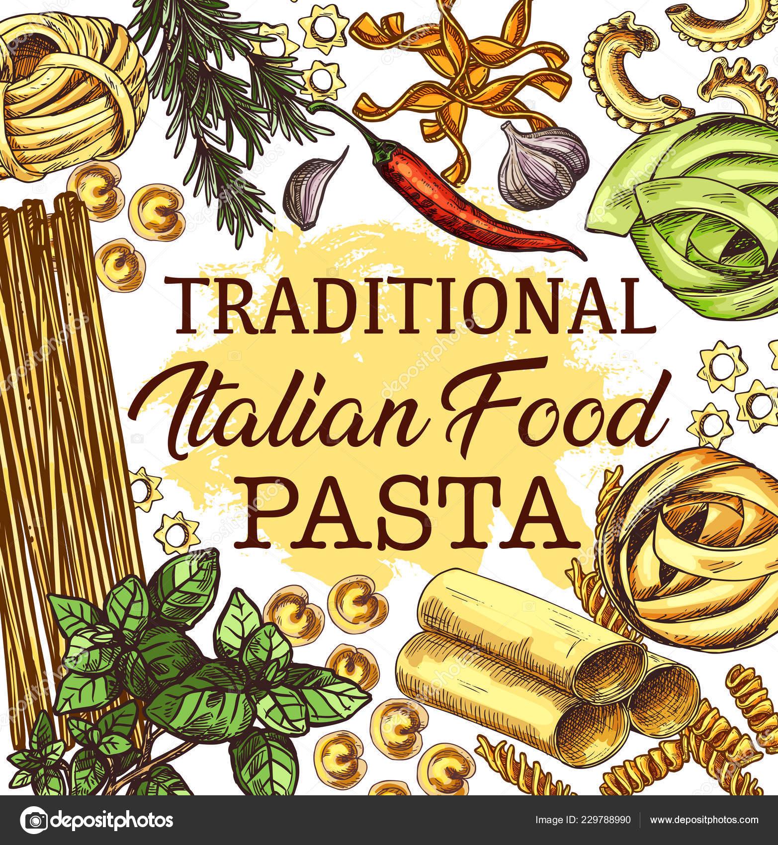 Italienische Küche Poster mit Nudeln und Gewürze ...