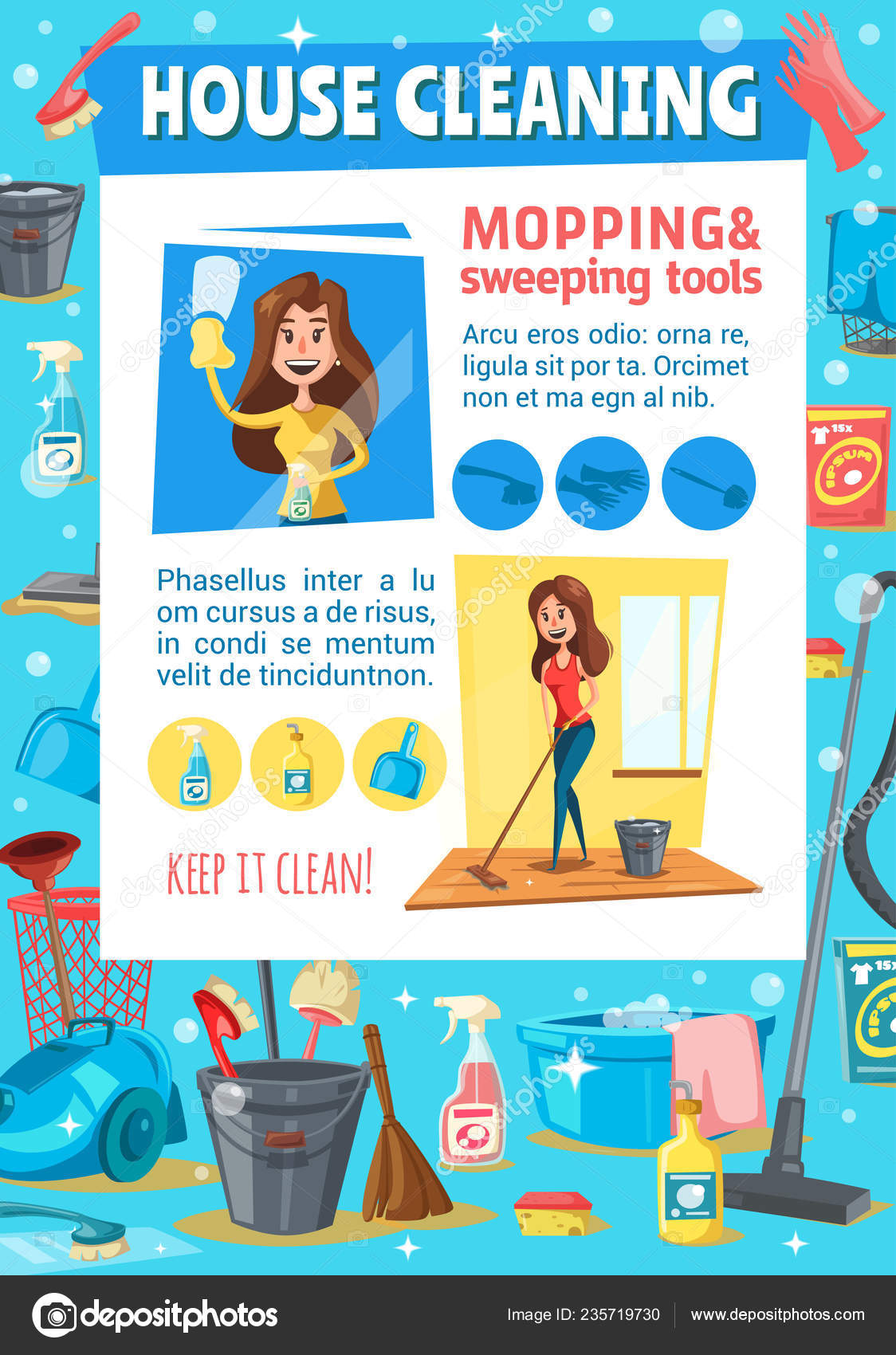 Woman sweeping and mopping  House cleaning service — Stock