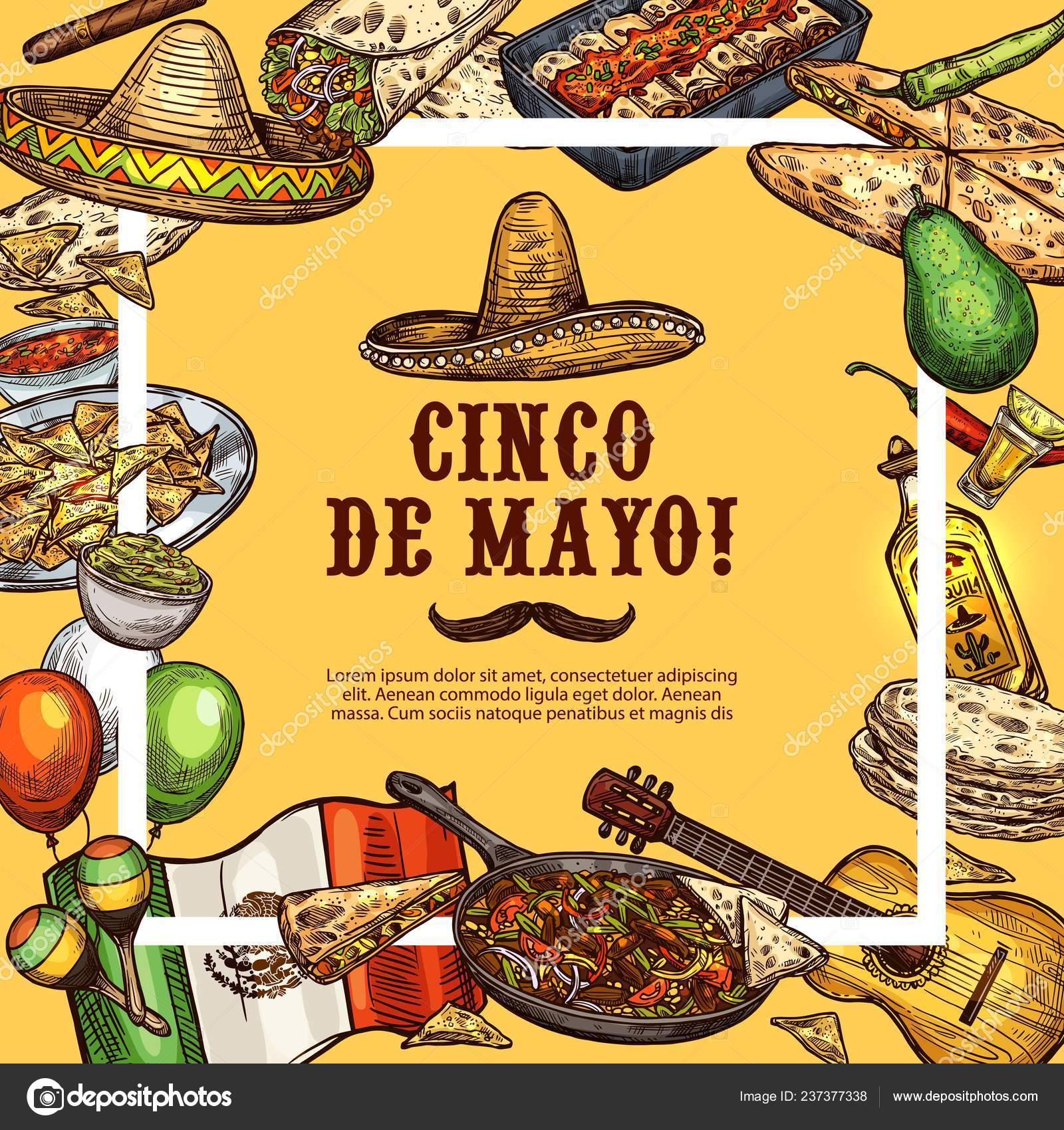 Comida mexicana de sombrero y fiesta cinco de Mayo — Vector de stock ... e3c68a88158
