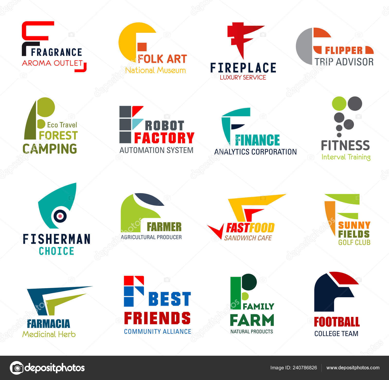 beb288a896 Business icons, letter F, corporate identity — Stock Vector ...