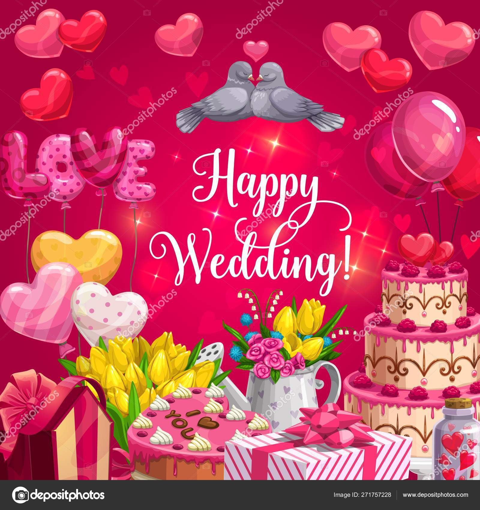 Happy Wedding Heart Cake Balloons And Flowers Stock Vector