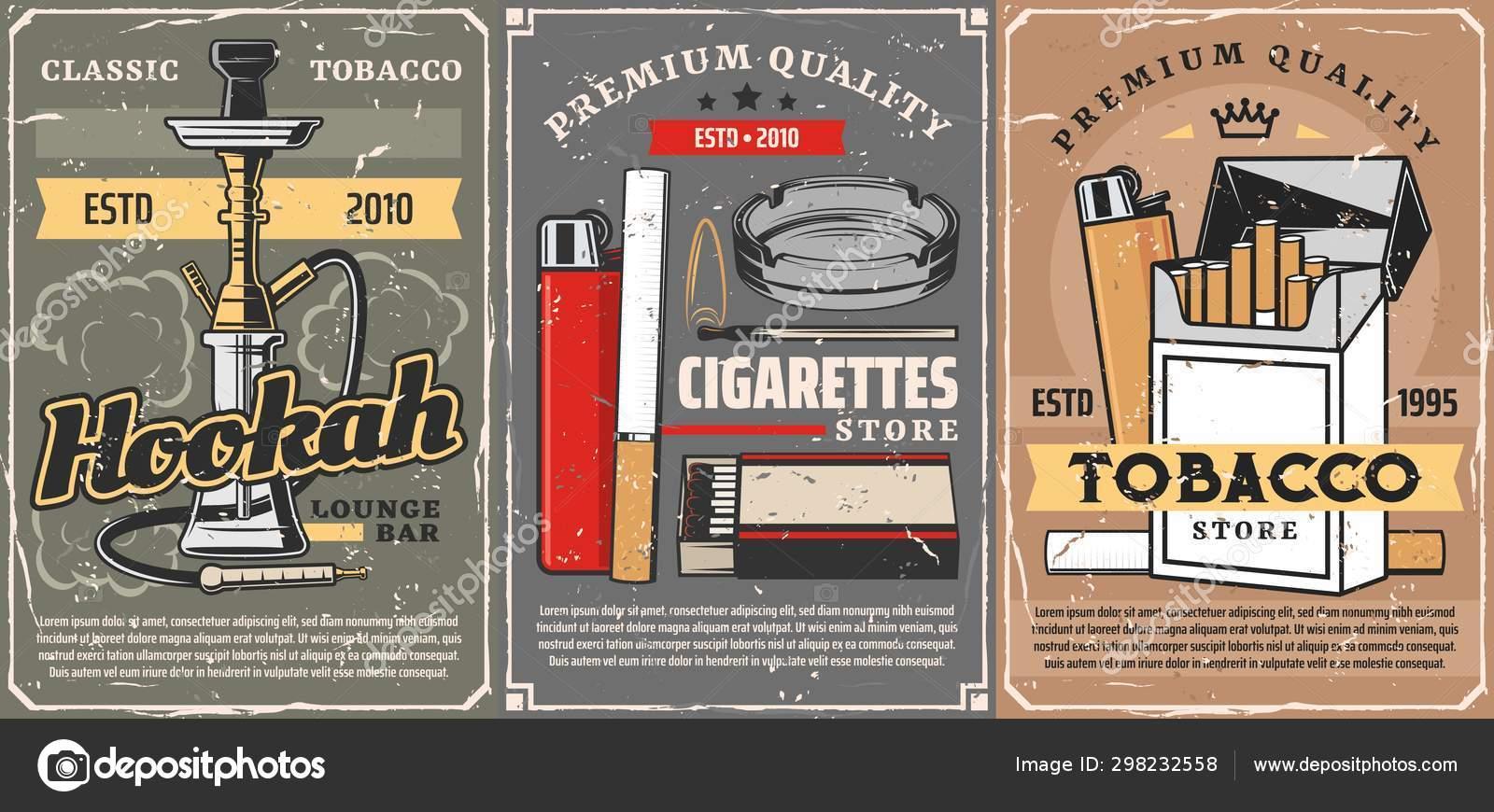 Premium quality tobacco, cigarettes store — Stock Vector © Seamartini  #298232558