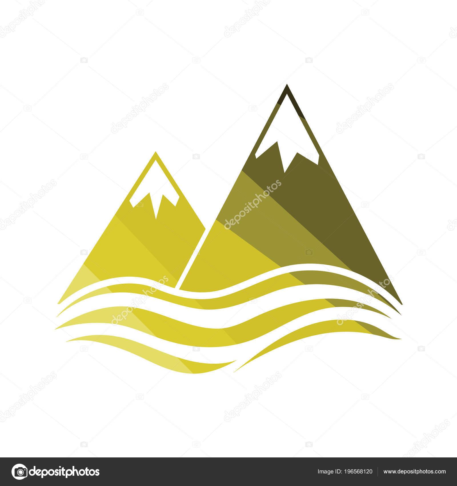 Scogliera Picchi Neve Sull Icona Mare Disegno Colore Piatto