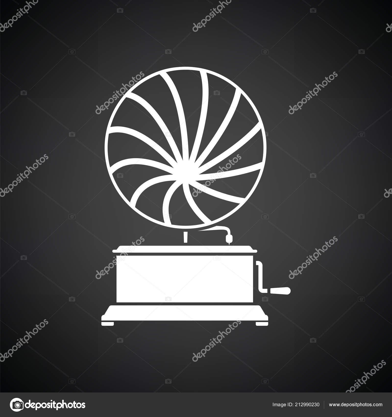 gramophone icon black background white vector illustration stock vector c angelp 212990230 gramophone icon black background white vector illustration stock vector c angelp 212990230