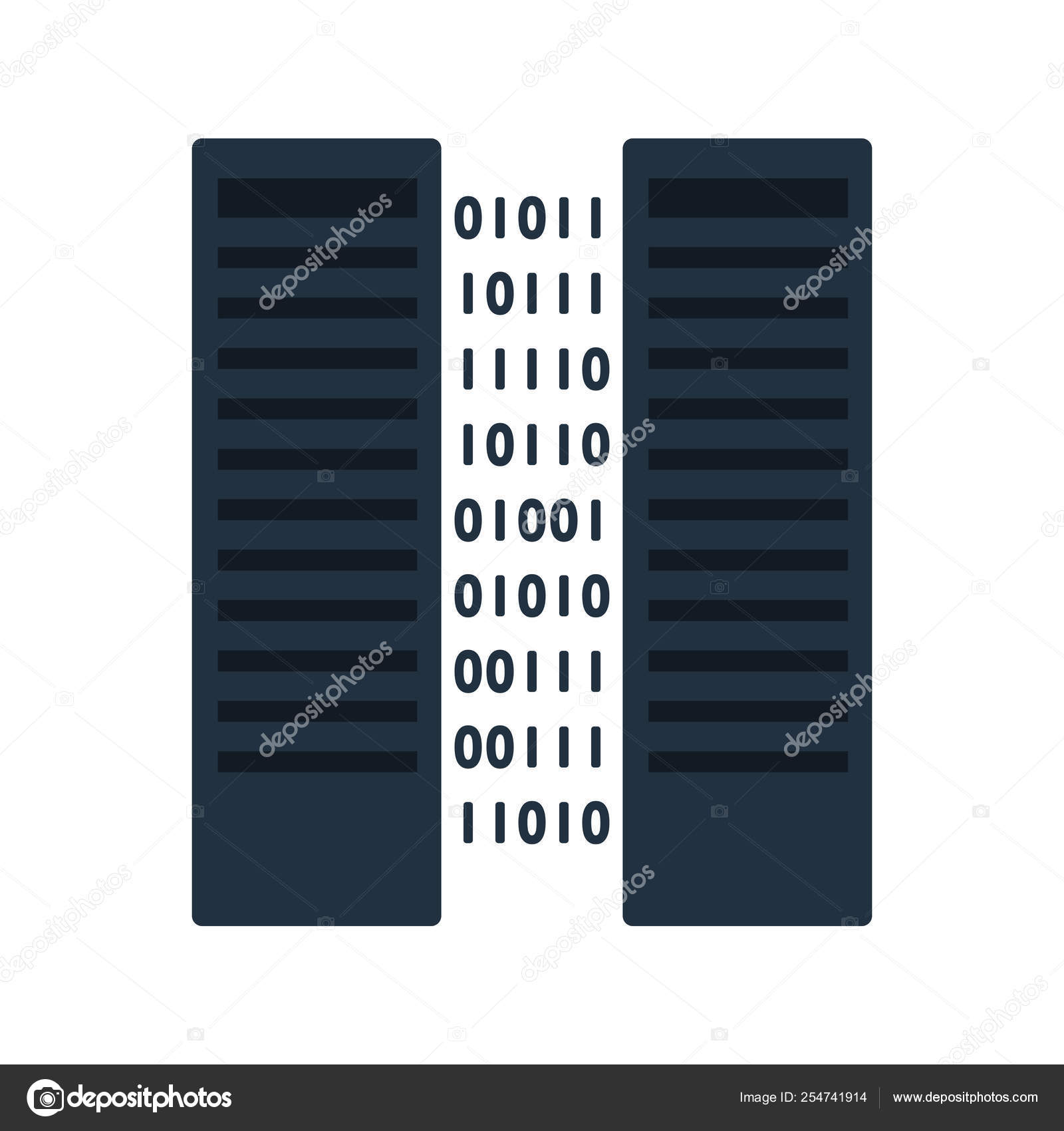 Server Icon Two Servers Rack Binary Code Flat Color Design