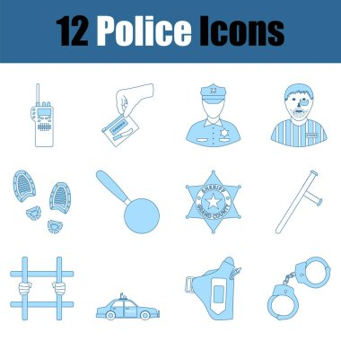 Police Icon Set. Thin Line With Blue Fill Design. Vector Illustration. icon