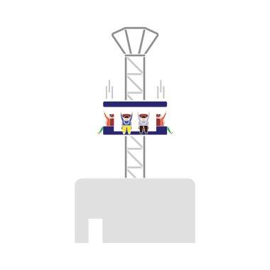 Free-fall Ride Icon. Flat Color Design. Vector Illustration.