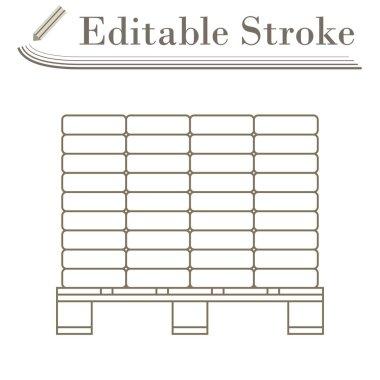 Icon Of Construction Pallet. Editable Stroke Simple Design. Vector Illustration.