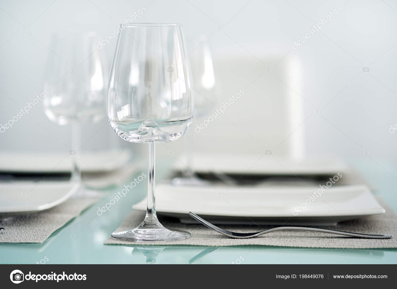 Table Setting Wine Glasses Cutlery Plates Stock Photo Amoklv - Wine glass table setting