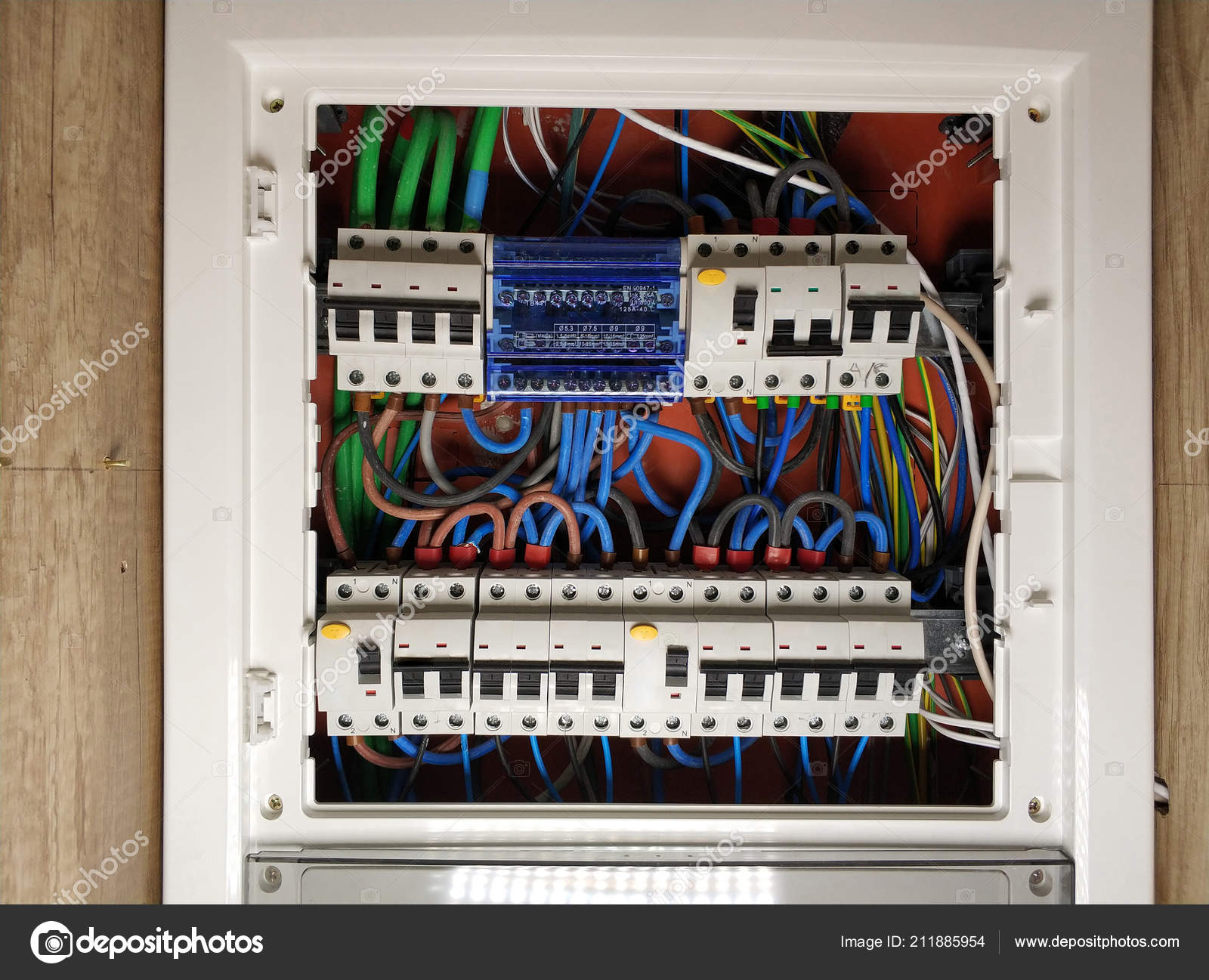 Magnificent Close White Frame Panel Electrical Switch Board Colourful Cables Wiring Cloud Nuvitbieswglorg