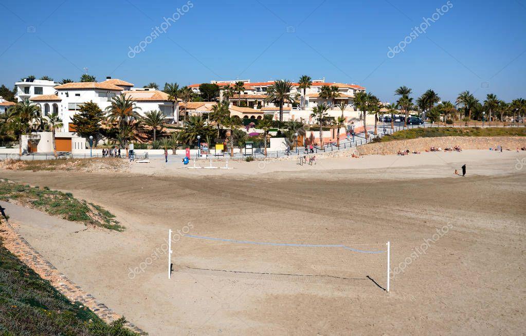 Sandy Playa Flamenco beach at winter, Spain