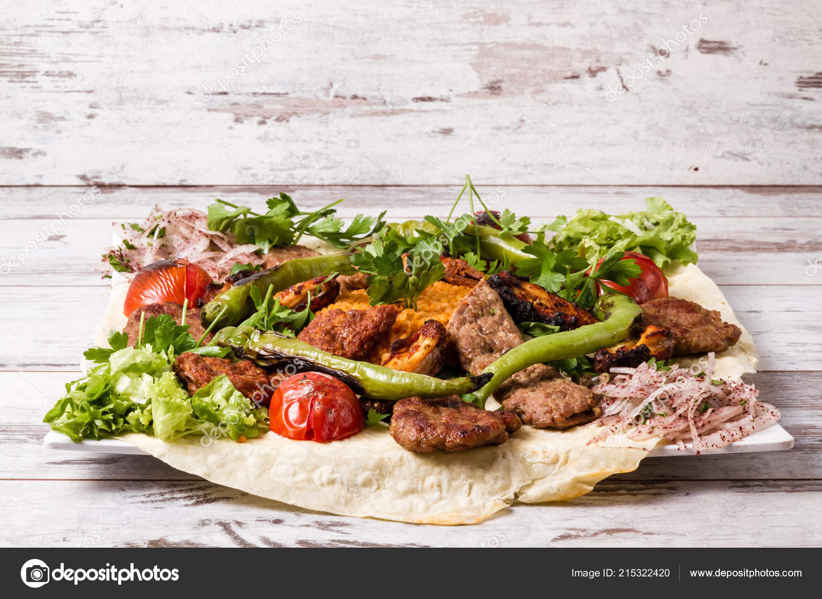Turkish Traditional Mixed Kebab Plate Adana Chicken Kebabs Stock Photo Image By C Hskoken 215322420