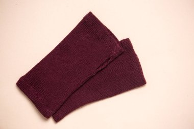 Wool Knitted without fingers Gloves burgundy colors