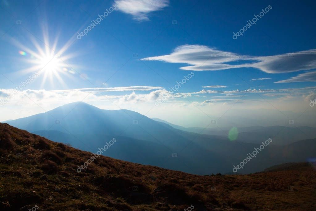 Sunny summer day at the Carpathian mountains