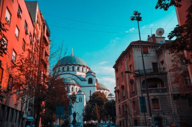 View of the Temple of Saint Sava in the direction of Svetog Save street. Belgrade, Serbia