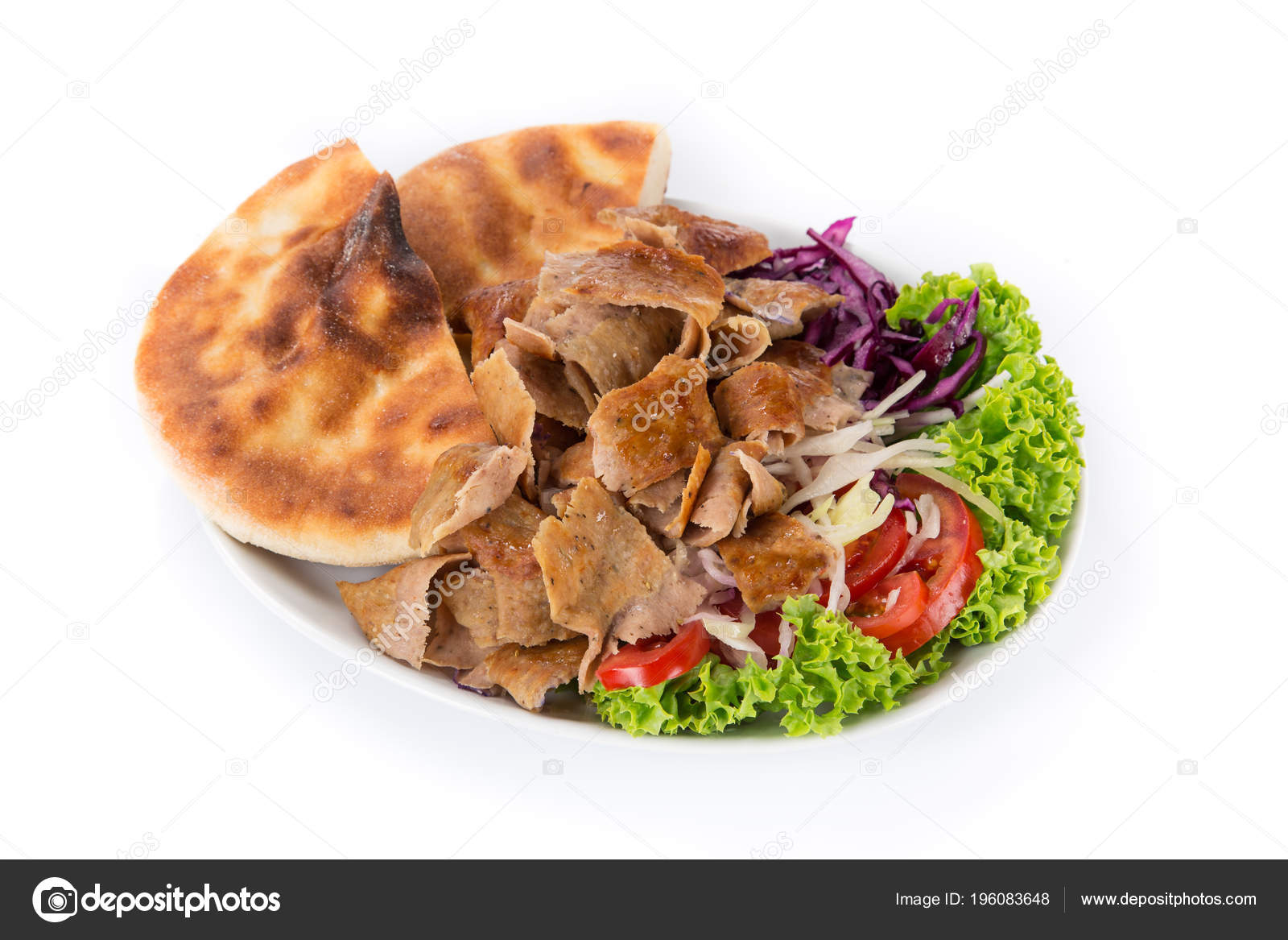 Turkish Doner Kebab Plate On White Background Stock Photo Image By C Kesu01 196083648