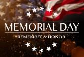 Fotografia Bandiera americana con il Memorial day testo