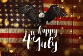 Fotografia Iscrizione Happy 4th of July con bandiera Usa