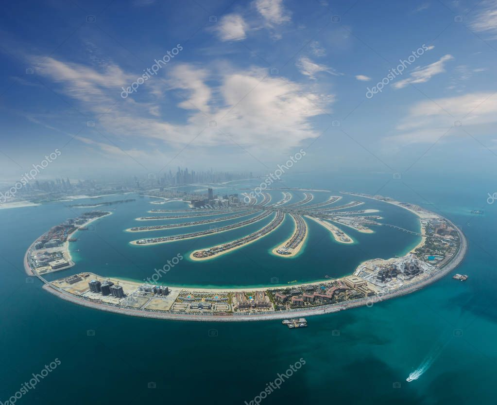 Dubai Palm artificial Island from hydroplane
