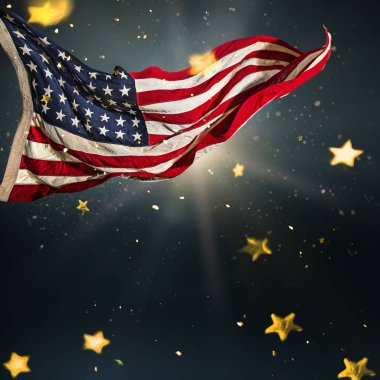 American flag with gold shining stars.