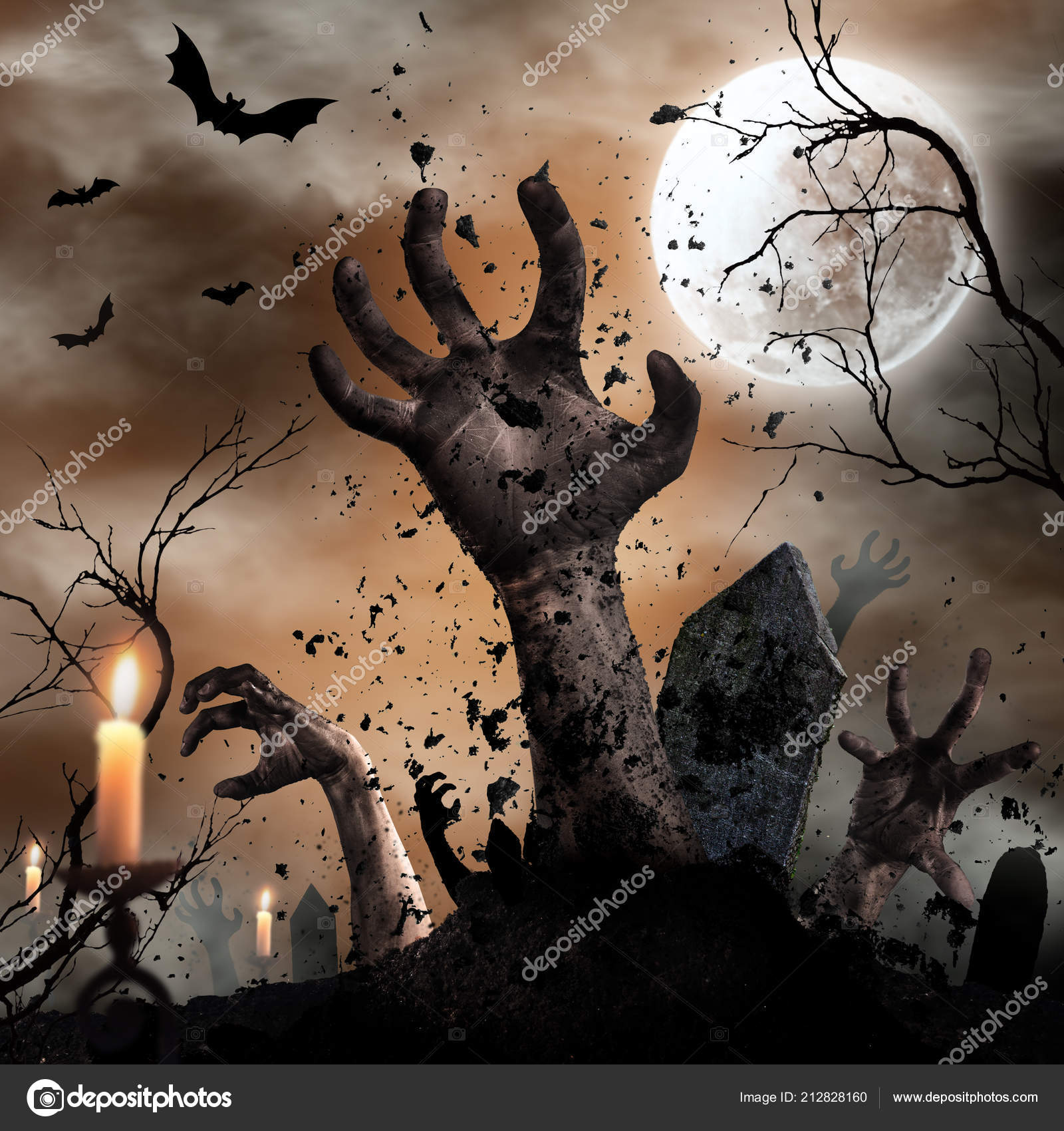 scary halloween background with zombie hands. — stock photo © kesu01
