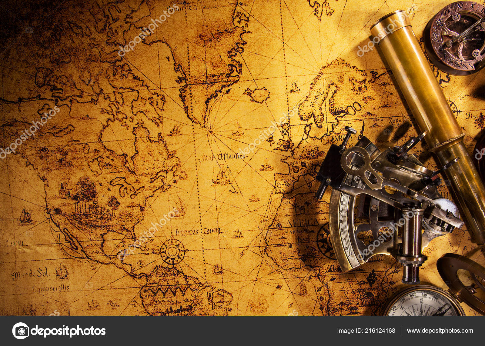 Navigation World Map.Top View Vintage Navigation Equipment Old World Map Stock Photo