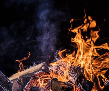 Flaming Logs, fire flames background.