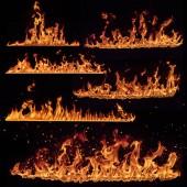 Palbu plameny kolekce izolované na černém pozadí