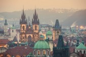 Photo View of Old Town Square and Tyn church in Prague.
