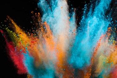 Colored powder explosion on black background. Freeze motion. stock vector