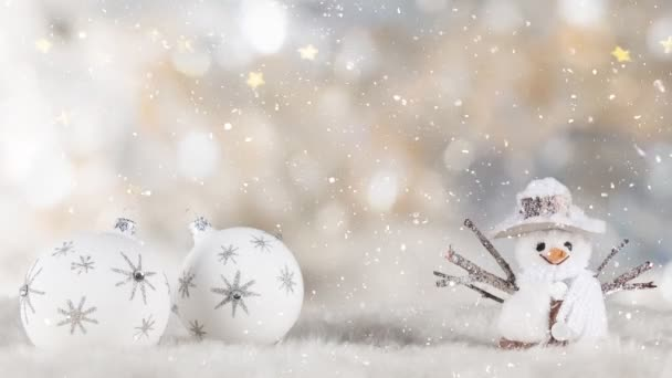 Christmas Still Life with Defocused Lights in Background and Snowflakes Falling.